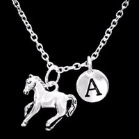 Choose Initial, Horse Animal Cowboy Cowgirl Country Western Gift Necklace