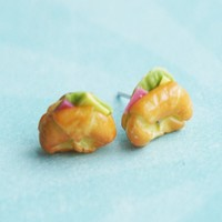 ham croissant stud earrings