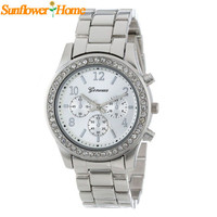 Newly Design Women Silver Geneva Faux Chronograph Classic Round Ladies Crystals Quart Wrist Watch ZYQ 160425 Drop Shipping