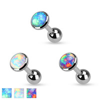 Opal Set Flat Top  3l6L Surgical Steel Cartilage Tragus Helix 16ga Barbell Body Jewelry