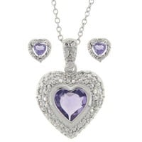 Sterling Silver Genuine Amethyst and Diamond Accent Heart Pendant and Earring Set - Purple