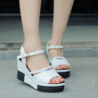 2017 Summer style Women sandals wedge female sandals high platform wedges platform open toe platform casual shoes sandals women