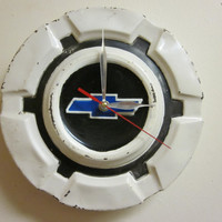 196971 Chevy Blue Bowtie Hubcap Clock by AnyOldThingByRachel