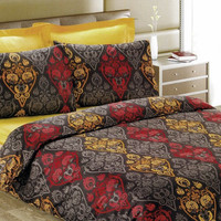 Damask Duvet Cover Set in Brick Red, Mustard Yellow, Taupe Brown for Queen or Full, Custom Size –3-pieces Set of Duvet Cover & Pillow Cases