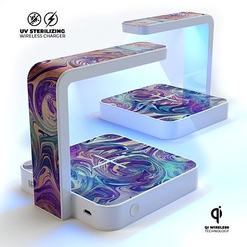 Pastel Minimalistic Acrylic Swirl V2 UV Germicidal Sanitizing Sterilizing Wireless Smart Phone Screen Cleaner + Charging Station