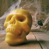 Small Human Skull Candle, Spooky Beeswax Halloween Candle