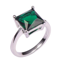 Classic Style Emerald 925 Sterling Silver Wedding Party Fashion Design Romantic Ring