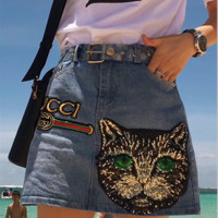 Gucci Woman Embroidery Short skirt