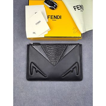 Fendi Woman Men Envelope Clutch Bag Leather File Bag Tote Handbag 30cm