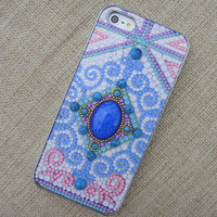 A98 Gem Stone Centre Exotical Pattern Handmade Case for iPhone 5