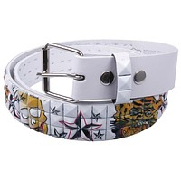 Tiger & Skulls Studded Leather Belt