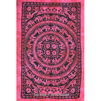 Maroon Indian Tie Dye Elephant Mandala Tapestry Wall Hanging Bed Cover on RoyalFurnish.com