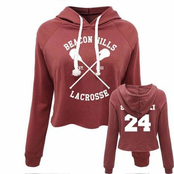 Hot 2017 Casual Women Crop Top Hoodie Teen Wolf Stiles Stilinski Sweatshirt Hoody Long Sleeve Girls Pullover Hooded Femme Shirts