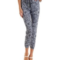 White/Blue Paisley Print Sash-Belted Jogger Pants by Charlotte Russe