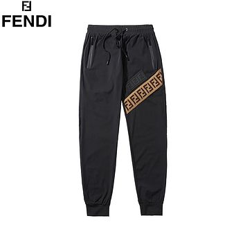 Fendi 2019 new double F letter jacquard ribbon stitching trousers
