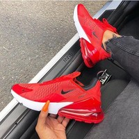 Nike Air Max 270 Hot Sale Fashionable Women Men Air Cushion Sports Running Shoes Sneakers Red