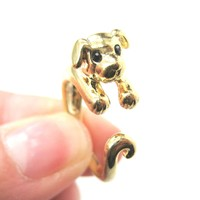 Puppy Dog Animal Wrap Around Ring in Shiny Gold | US Sizes 4 to 9