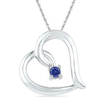 Sterling Silver Women's Round Lab-Created Blue Sapphire Heart Pendant 1-8 Cttw - FREE Shipping (US/CAN)