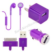 Car Charger Bundle USB Data Cable Wall Charger + Earphone for iPhone 4 4S Purple