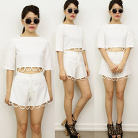 White SCALLOP Cut Out Eyelet CROP MIDRIFF TOP High Waisted Shorts 2 Piece Set 6