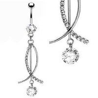 Belly Button Navel Ring with 3 Free Moving Bars - 14 Gauge - Style: Clear