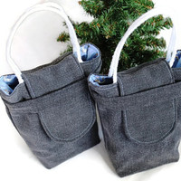 Snowman Gift Bags Reusable Upcycled Black Denim Christmas Sky Blue Silver Gray Periwinkle Winter Holiday(Set of 2)--US ShippingInclude