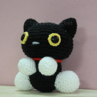 "Black Cat 6.3"" - Finished Handmade Amigurumi crochet doll Home decor birthday gift Baby shower toy"