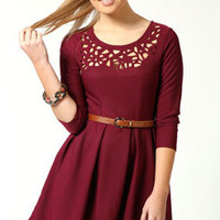 Scarlett 3/4 Sleeve Lazer Cut Detail Fit and Flare Dress