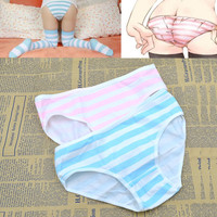 Cute Women Girl Anime Style Lolita Striped Intimate Panties Blue Pink&Green Striped Underwear Cosplay Accessories