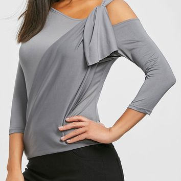 Cold Shoulder Skew Neck T-shirt