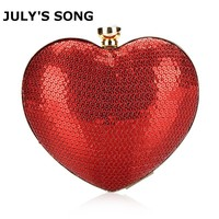 Red Heart Shape Sequins Crystal Clutch Bag Rhinestone Evening Bag With Chain Ladies Party Purse Bag Love Heart Diamond Gift Bag