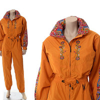 Vintage 80s Powderhorn Ski Suit 1980s Embroidered Floral Hippie Party One Piece New Wave Skiing Snowboard Puffer 1 pc Jacket Pants Outfit