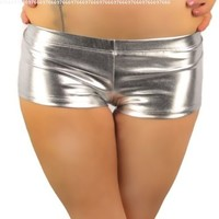 iHeartRaves Metallic Rave Booty Shorts (Large, Silver)