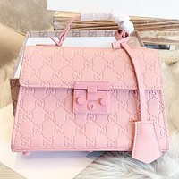 GUCCI Fashion New More Letter Leather Shoulder Bag Crossbody Bag Handbag Pink