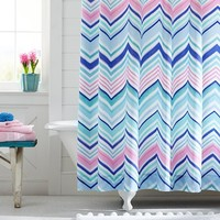 Zig N Zag Shower Curtain, Cool Multi