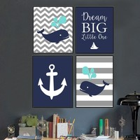 Nordic Whale Nautical Nursery Canvas Printings Dream Big Little One Wall Art Picture Poster Print Boys Kids' Room Home Decor
