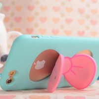 """iPhone 6 Case,E-Age Personality Cute TPU Case Skin Cover With Bowknot Kickstand Compatible with iPhone 6 4.7"""" (Green)"""