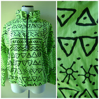 Neon Green Tribal Print Windbreaker Vintage 90s OCEAN PACIFIC Pullover Jacket Size S Small SoCal Surfer Hipster Mens Womens Nylon Coat 1990s