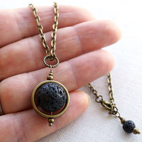 Black Lava Stone Necklace. Full Moon Pendant, Planet Pendant, Unisex Steampunk Jewelry. Antique Bronze Chain. Captain Nemo Inspired