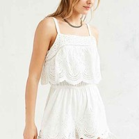 MINKPINK Crescent Embroidered Overlay Romper