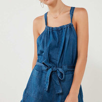Kimchi Blue Chambray Apron Tunnel Neck Romper   Urban Outfitters
