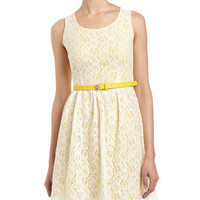 Lace Belted Dress