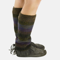 Grunge Leg Warmers in Stripes and Flecks of Gold Brown Burgundy and Cobalt - Upcycled Wool Sweaters - OOAK