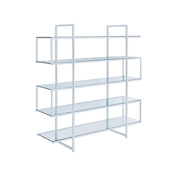 G801304 - 5-Shelf Bookcase - Chrome And Clear