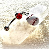Softball Belly Ring, Baseball, Piercing, Athletic, Athlete, Belly button, Navel, Summer, Beach, Ready to Ship