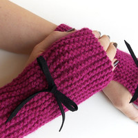 Fuchsia Pink  Fingerless Mittens, Knitted Fingerless Gloves, Hand Warmers with Black Suede Bow