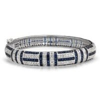 Bling Jewelry Art Deco Style Clear and Blue Sapphire Color CZ Bangle Bracelet