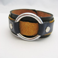 Leather Bracelet Leather Cuff Real Leather O Ring Bracelet  Snap on Leather Jewelry O Ring Jewelry Unisex Gifts Under 30