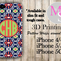 Monogram iPhone 5 Case, Personalized Phone Case Sun Valley Print iPhone Monogrammed iPhone Case Iphone 4S Iphone 4 iPhone 5S iPhone 5C #2307