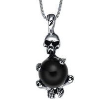 Stainless Steel Gothic Black Ball Gripping Skeleton Pendant Necklace